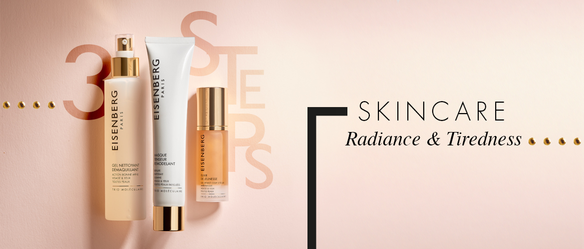 three skincare radiance-boosters for tired skin against a light salmon-colour background with the text 3 steps
