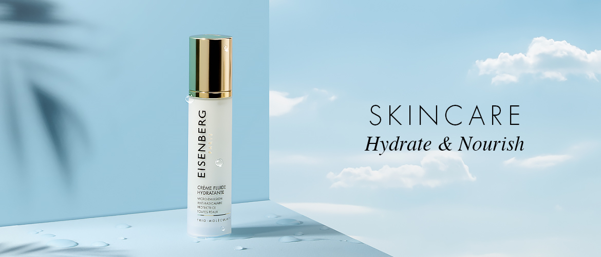 tube of hydrating skincare on a sky-blue background with clouds