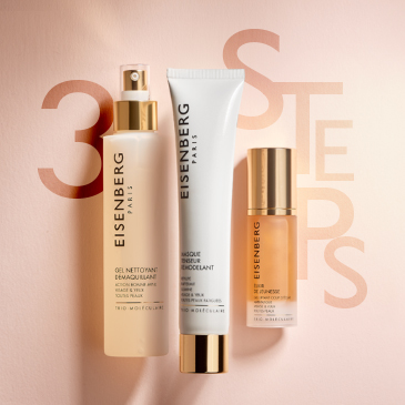 three skincare radiance-boosters for tired skin against a light salmon-coloured background with the text 3 steps
