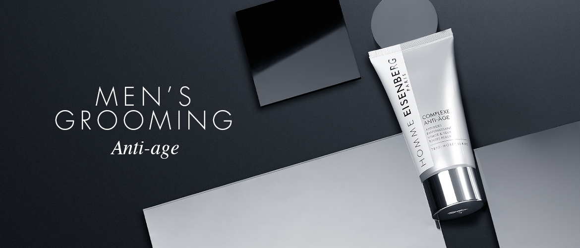 anti-ageing skincare for men on a graphic black and grey background