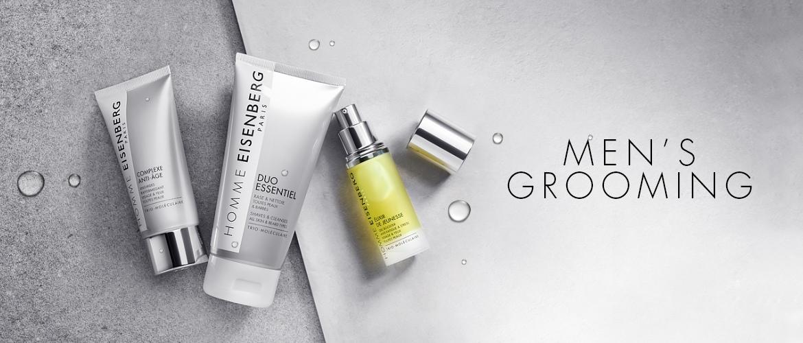 three men's grooming solutions against a grey background divided into two parts