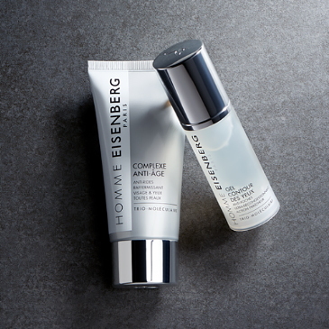men's skincare on a dark grey background